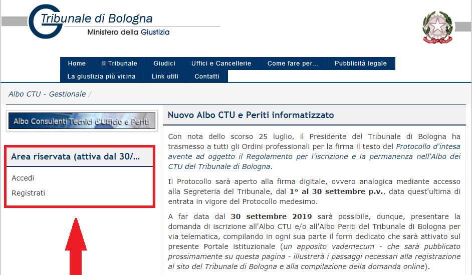 Gestionale Albo CTU Tribunale di Bologna